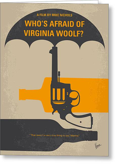 No426 My Whos Afraid Of Virginia Woolf Minimal Movie Poster Greeting Card by Chungkong Art