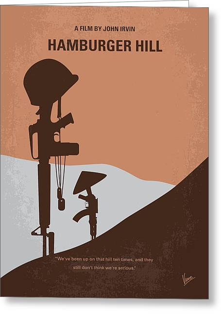 Hills Greeting Cards - No428 My Hamburger Hill minimal movie poster Greeting Card by Chungkong Art
