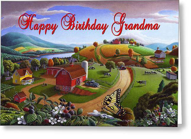Amish Family Greeting Cards - no7 Happy Birthday Mom Greeting Card by Walt Curlee