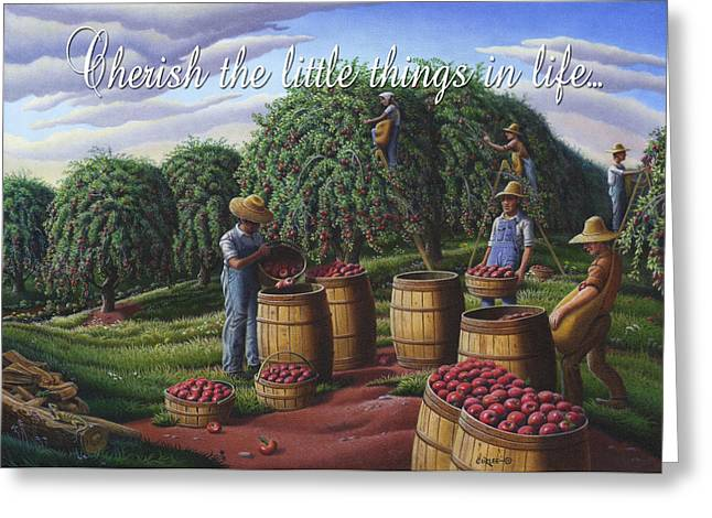 Amish Family Greeting Cards - no8 Cherish the little things in life  Greeting Card by Walt Curlee
