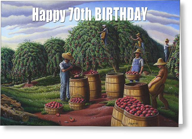 Amish Family Greeting Cards - no8 Happy 70th Birthday Greeting Card by Walt Curlee