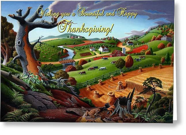 Regionalism Greeting Cards - no9 Wishing you a Bountiful and Happy Thanksgiving Greeting Card by Walt Curlee