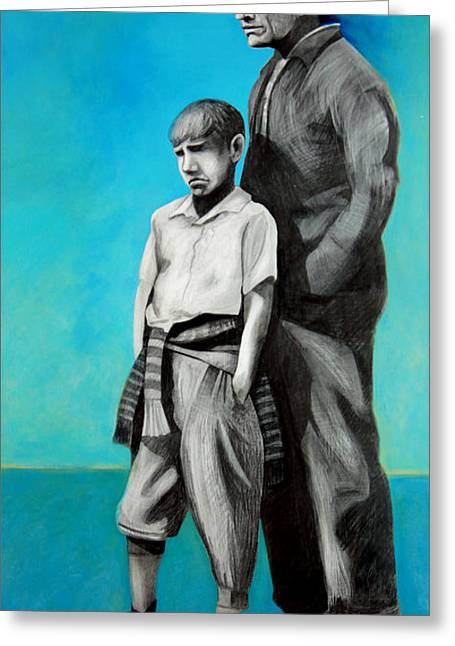 Sorrow Mixed Media Greeting Cards - Noah and Father Greeting Card by Michael Pittman