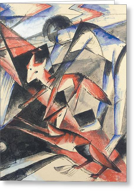 Wild-caught Greeting Cards - Noah and the Fox Greeting Card by Franz Marc