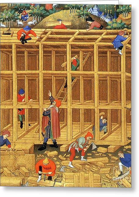Christian Mythology Greeting Cards - Noahs Ark Construction, 15th Century Greeting Card by Photo Researchers