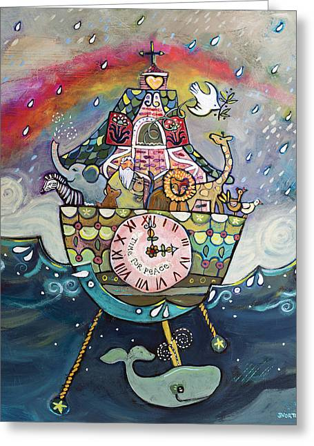 Juvenile Wall Decor Paintings Greeting Cards - Noahs Ark Cuckoo Clock Wall Art Greeting Card by Jen Norton