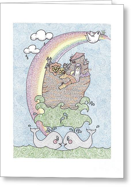 Art Product Drawings Greeting Cards - Noahs Ark Greeting Card by Ellen Braun