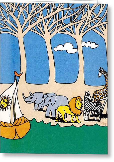 Zebra Greeting Cards Greeting Cards - Noahs Ark Greeting Card by Genevieve Esson