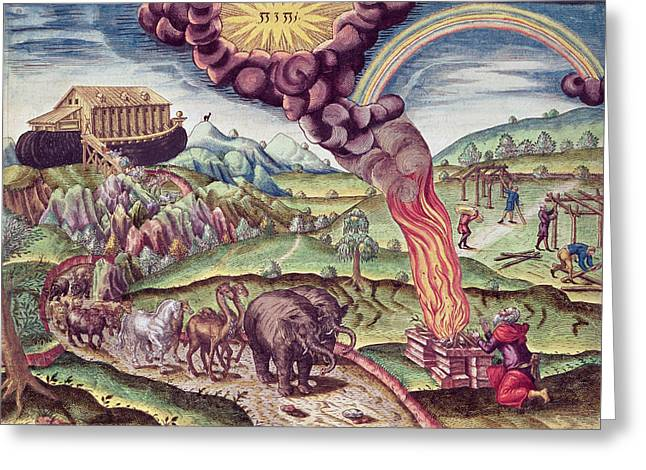 Deluge Greeting Cards - Noahs Ark, Illustration From Brevis Narratio..., Published By Theodore De Bry, 1591 Coloured Greeting Card by Th. Bry