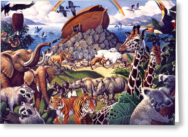 Tiger Illustration Greeting Cards - Noahs Ark Greeting Card by Mia Tavonatti