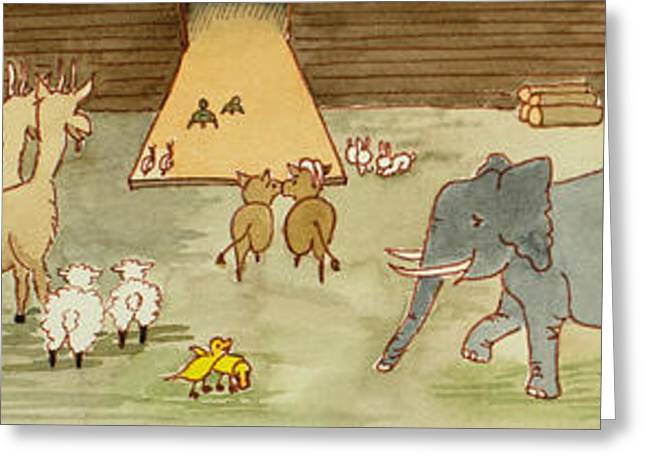 Bible Paintings Greeting Cards - Noahs Ark Greeting Card by Ruth Bailey