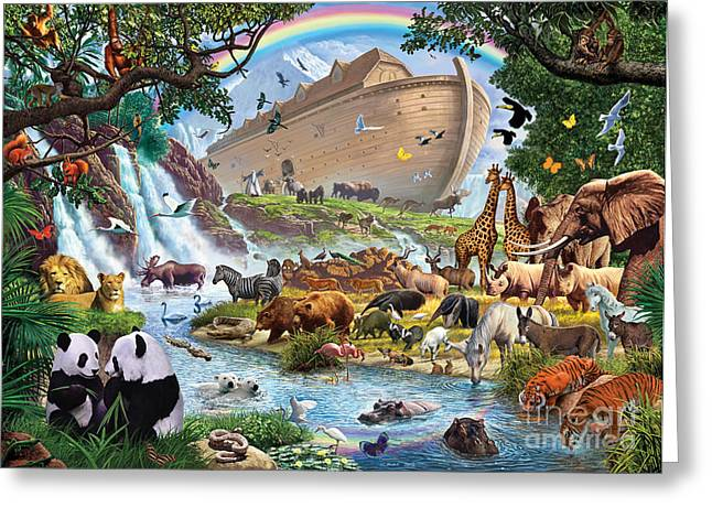 Penguins Greeting Cards - Noahs Ark - The Homecoming Greeting Card by Steve Crisp