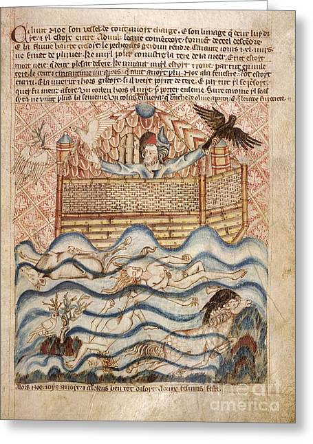 Wildlife Disasters Greeting Cards - Noahs Flood, 14th-century Manuscript Greeting Card by British Library