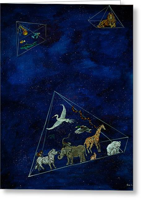 Outer Space Paintings Greeting Cards - Noahs Last Voyage Greeting Card by Susan Culver