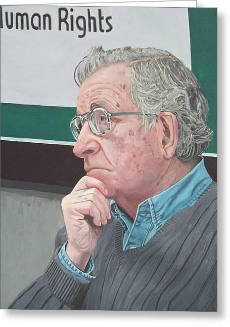Photorealist Greeting Cards - Noam Chomsky Greeting Card by Bert Ernie