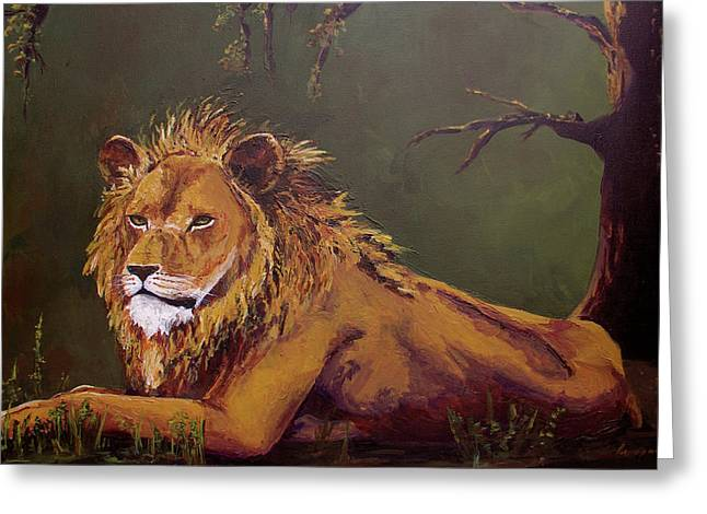 Majestic Cat Greeting Cards - Noble Guardian - Lion Greeting Card by Patricia Awapara
