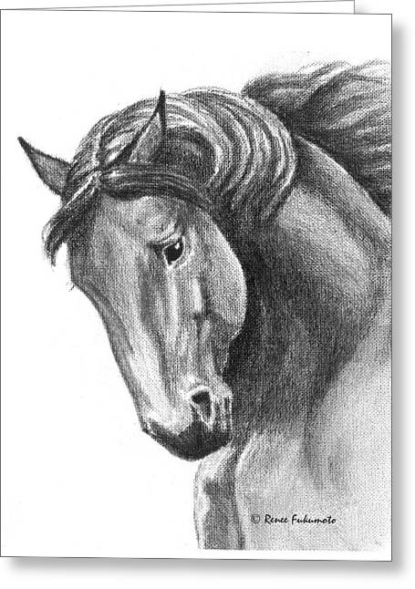 Wild Horses Drawings Greeting Cards - Noble Greeting Card by Renee Forth-Fukumoto