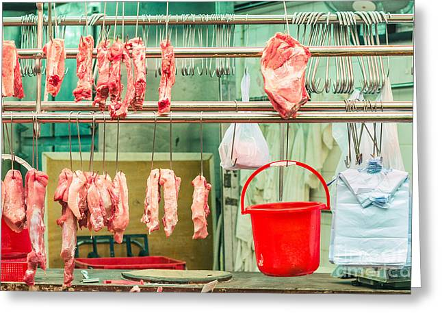 Meat Hook Greeting Cards - Nobody Butcher Stall Greeting Card by Tuimages