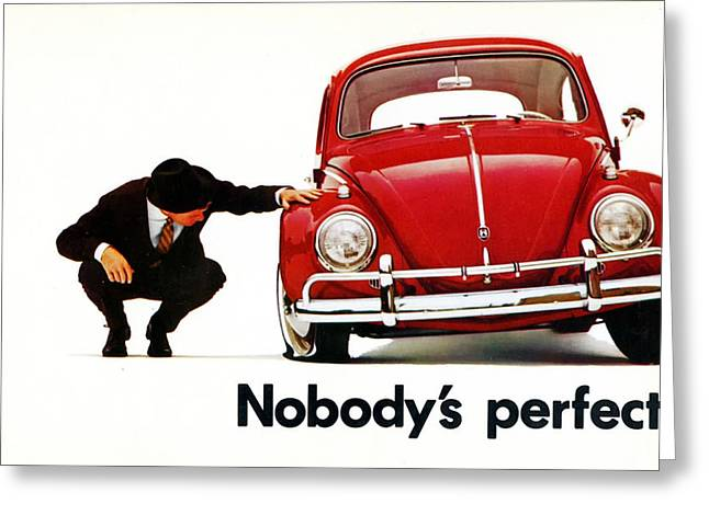Best Sellers -  - 60s Greeting Cards - Nobodys Perfect - Volkswagen Beetle Ad Greeting Card by Nomad Art And  Design