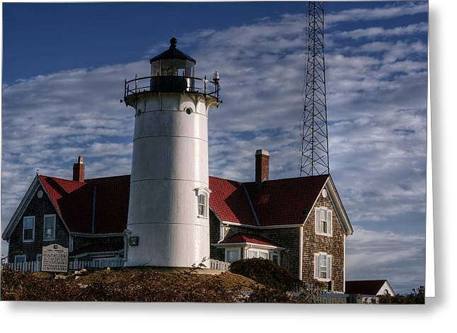New England Lighthouse Greeting Cards - Nobska Light Greeting Card by Joan Carroll