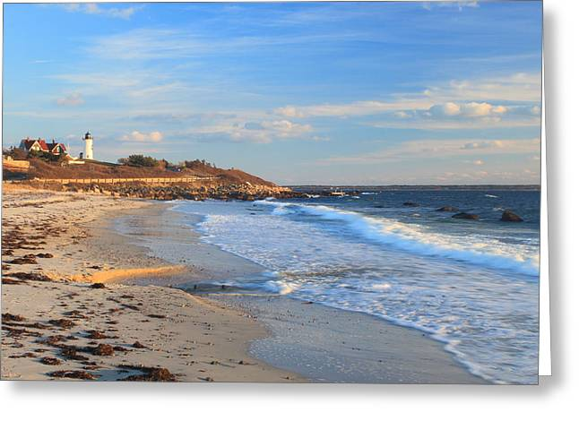 Massachusetts Coast Greeting Cards - Nobska Lighthouse and Nobska Beach Cape Cod Greeting Card by John Burk