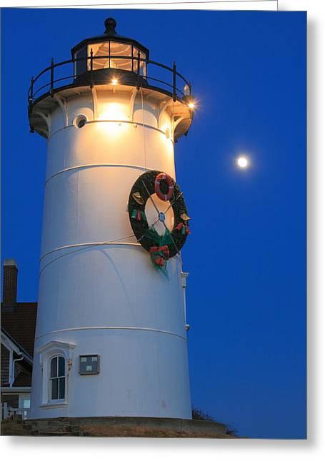 Falmouth Massachusetts Greeting Cards - Nobska Lighthouse Holiday Moon Cape Cod Greeting Card by John Burk