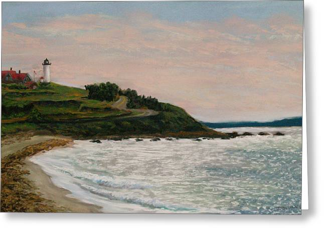Cape Cod Pastels Greeting Cards - Nobska Lighthouse Greeting Card by Joan Swanson