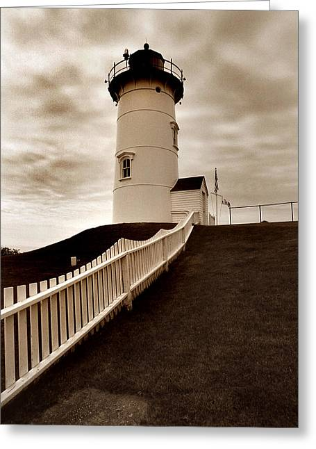 Lighthouse Photography Greeting Cards - Nobska Lighthouse Greeting Card by Skip Willits