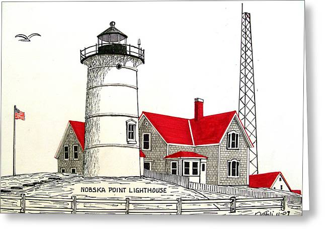 Lighthouse Greeting Cards - Nobska Point Lighthouse Drawing Greeting Card by Frederic Kohli