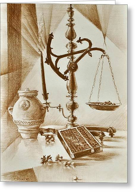 Marble Top Table Greeting Cards - Nocciole Greeting Card by Roger Clark