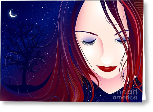 Vector Greeting Cards - Nocturn II Greeting Card by Sandra Hoefer