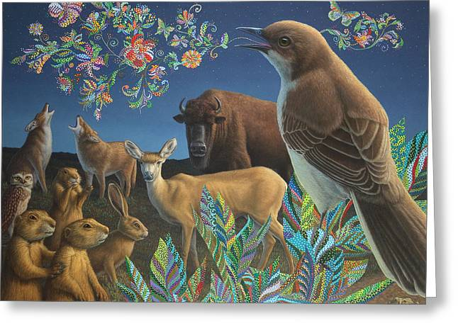 Bison Paintings Greeting Cards - Nocturnal Cantata Greeting Card by James W Johnson