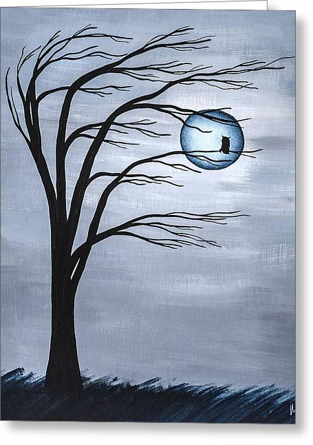 Windy Mixed Media Greeting Cards - Nocturnal Greeting Card by Melissa Smith