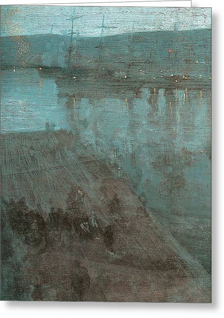 Sailing At Night Greeting Cards - Nocturne in blue and Gold Valparaiso Greeting Card by James Abbott McNeill Whistler