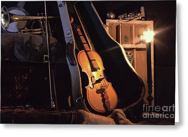 Violin Case Greeting Cards - Nocturne Greeting Card by Joe Jake Pratt