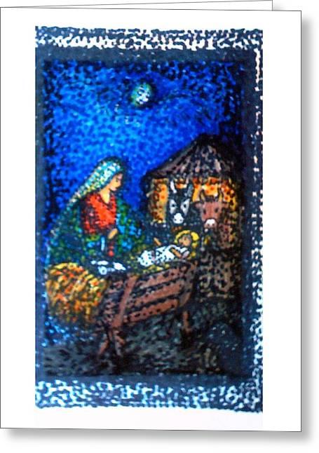 Baby Jesus Mixed Media Greeting Cards - Noel Greeting Card by Alina Gorna