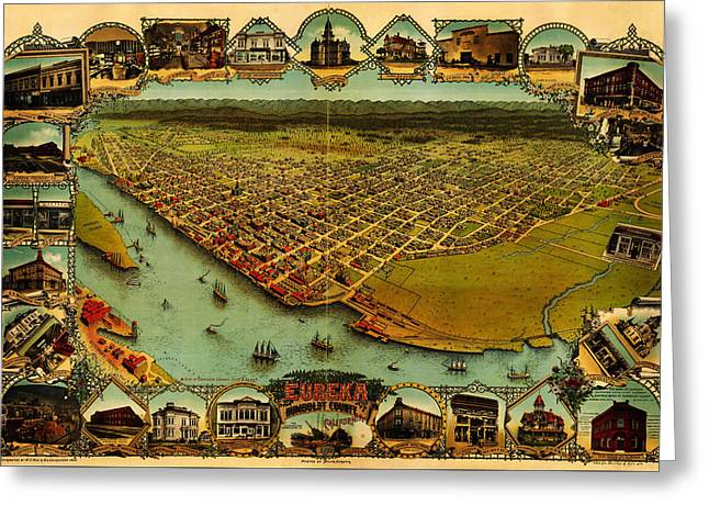 Noes Map Of Eureka California 1902 Greeting Card by MotionAge Designs