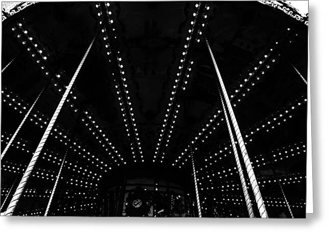 Whirligig Greeting Cards - Noir Carousel Greeting Card by Nomad Art And  Design