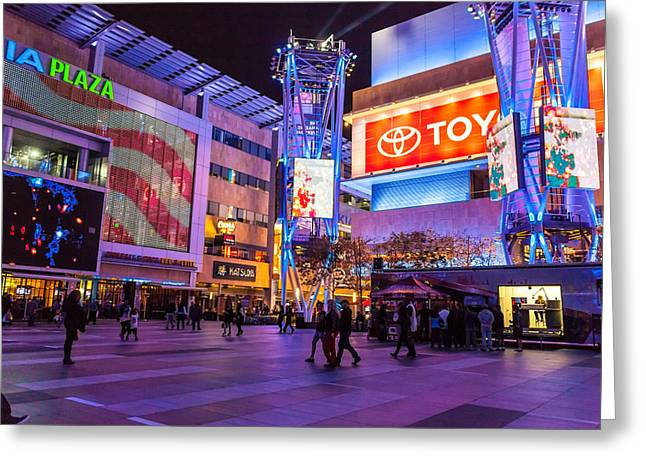 Staples Center Greeting Cards - Nokia Plaza Greeting Card by John Crowe