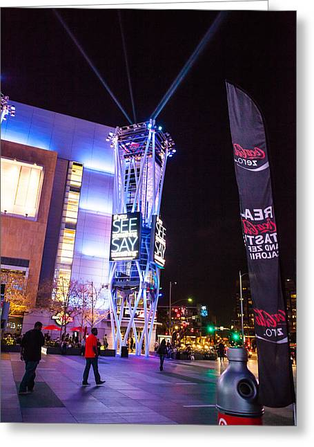 Staples Center Greeting Cards - Nokia Plaza Los Angeles Greeting Card by John Crowe