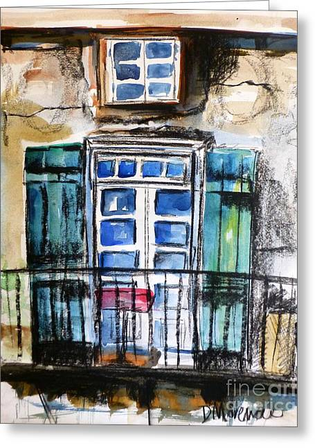 French Door Drawings Greeting Cards - Nola Balcony Greeting Card by Denise Morencie