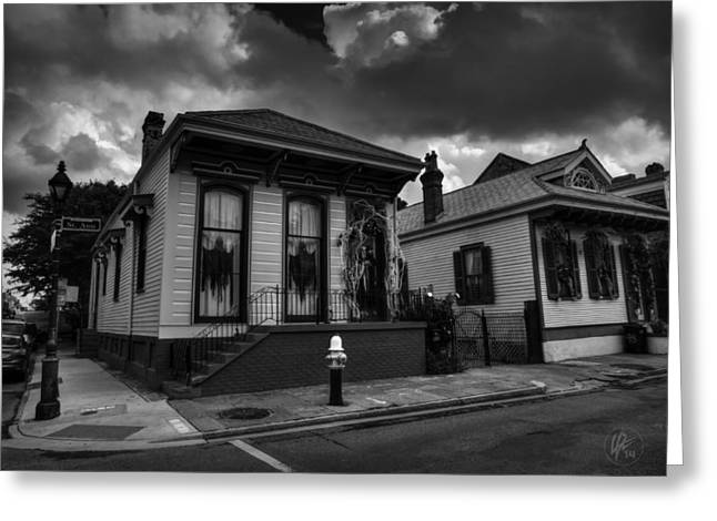 Sign Greeting Cards - NOLA - French Quarter 011 BW Greeting Card by Lance Vaughn