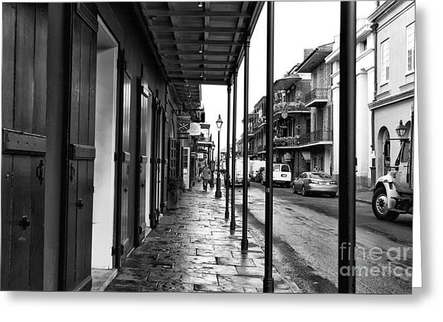 Nola Lines Mono Greeting Card by John Rizzuto
