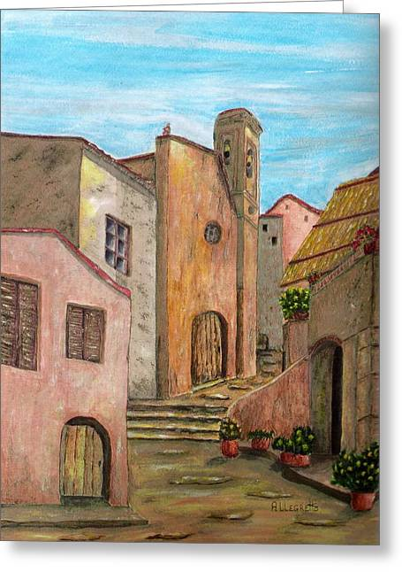 Red Buildings Mixed Media Greeting Cards - Nola Greeting Card by Pamela Allegretto