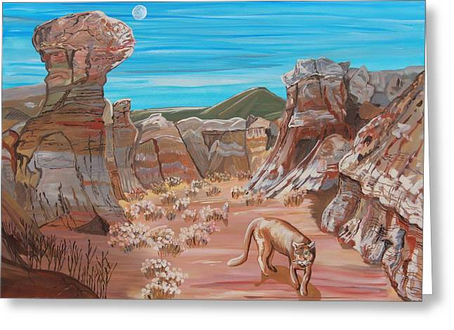 Overhang Greeting Cards - Nola Prowling the Painted Mines Greeting Card by Mike Nahorniak