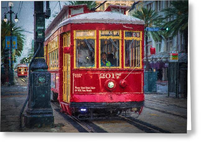 Canal Street Line Greeting Cards - New Orleans Streetcar  Greeting Card by Erwin Spinner