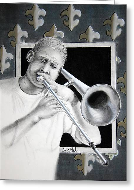 Graphite Pastels Greeting Cards - NOLA Trombone Greeting Card by Steve Ellenburg