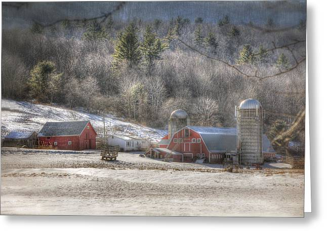Red Barn In Winter Greeting Cards - Nolan Farm - Vermont Farm Greeting Card by Joann Vitali