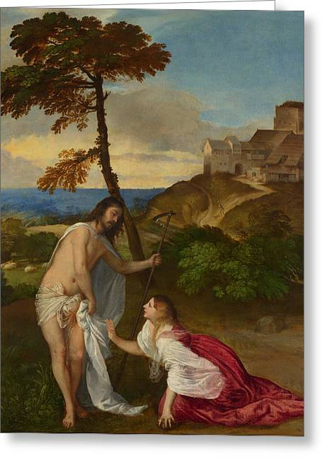 Gospel Greeting Cards - Noli me Tangere Greeting Card by Titian