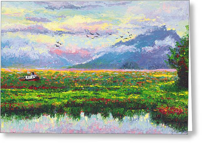 Mud Season Greeting Cards - Nomad - Alaska Landscape with Joe Redingtons boat in Knik Alaska Greeting Card by Talya Johnson